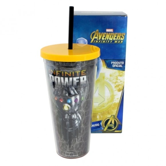 Copo canudo 650 ml com efeito metálico - Infinite Power