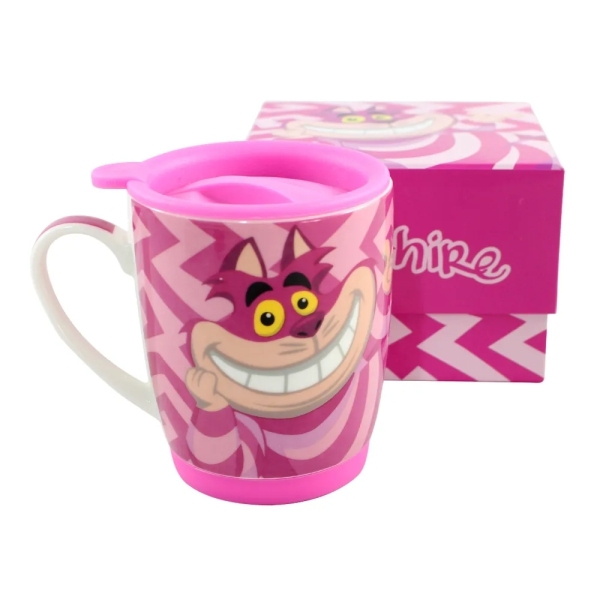 Caneca c/ tampa 350 ml e base de silicone - Cheshire Cat