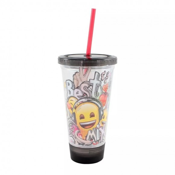 COPO CANUDO C/LED 500ML EMOJI MUSIC